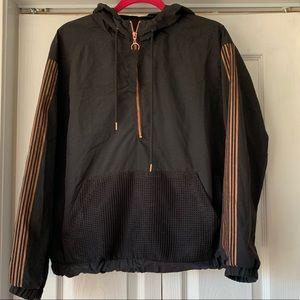 Jackets & Blazers - Black rose gold sleeve windbreaker jacket